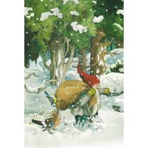 225 - Dwarf with birdseeds in snow - Löök Postcard