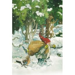 225 - Zwerg mit Vogelfutter im Schnee - Löök Postkarte