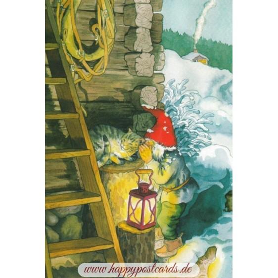 224 - Zwerg schmust mit Katze - Postkarte