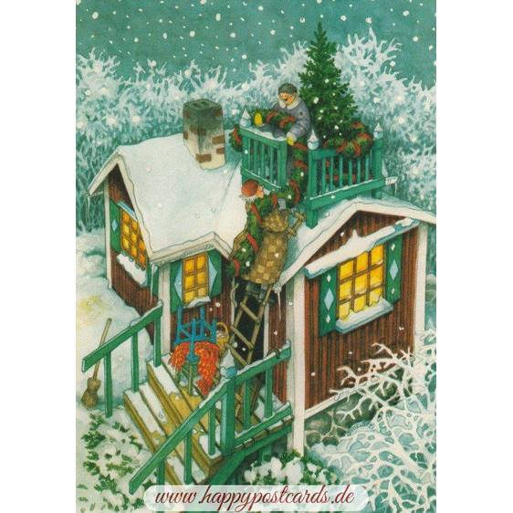 59 - Old Ladies decorating their house - Postcard