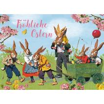 Fröhliche Ostern - Retro Bunnies with cart - Carola Pabst Postcard