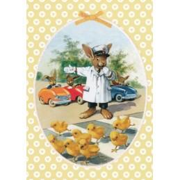 Fröhliche Ostern - Bunny and poults - Carola Pabst Postcard
