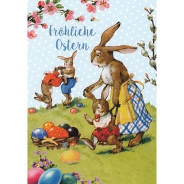 Fröhliche Ostern -Spielende Hasen - Carola Pabst Postkarte