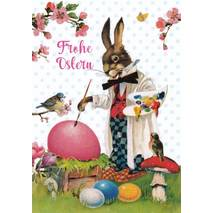 Frohe Ostern - Bunny paints eggs - Carola Pabst Postcard