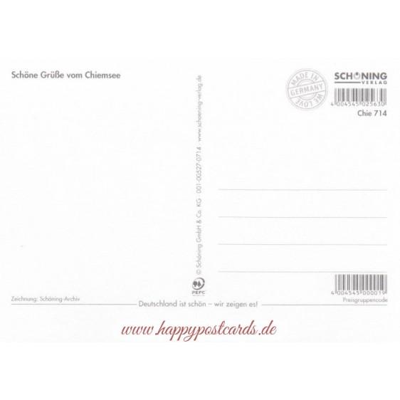Chiemsee - Map - Postcard