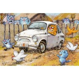 Am Steuer - Blaue Katzen - Postkarte