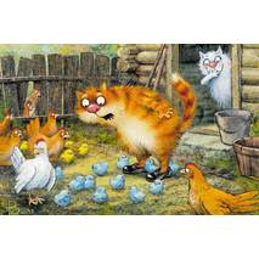 Das große Rätsel - Blaue Katzen - Postkarte