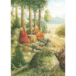 60 - Frauen beim Kartenspielen im Wald - Löök Postkarte