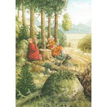 60 - Old Ladies playing cards in the woods - Postcard