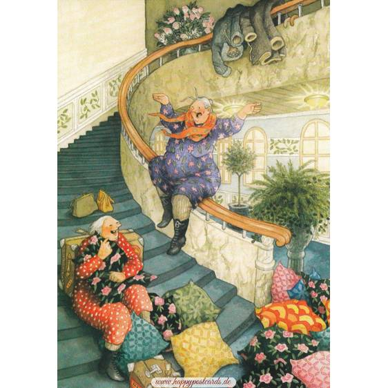 61 - Old Ladies sliding down the stairs - Postcard