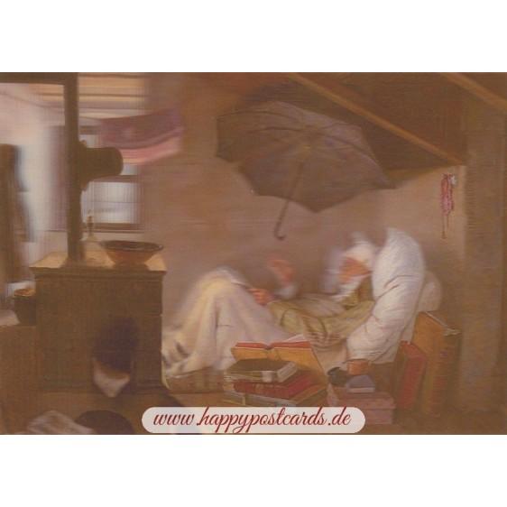 3D Spitzweg: Der arme Poet - 3D Postkarte