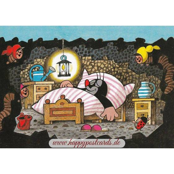 Der Maulwurf im Bett - Postkarte