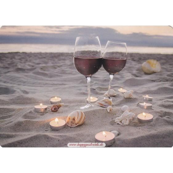Wein am Strand - Medley-Postkarte