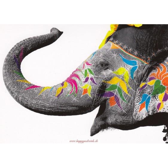 Bunter Elefant - Kontraste-Postkarte
