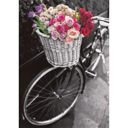 Fahrrad mit bunten Blumen - Kontraste - Postkarte