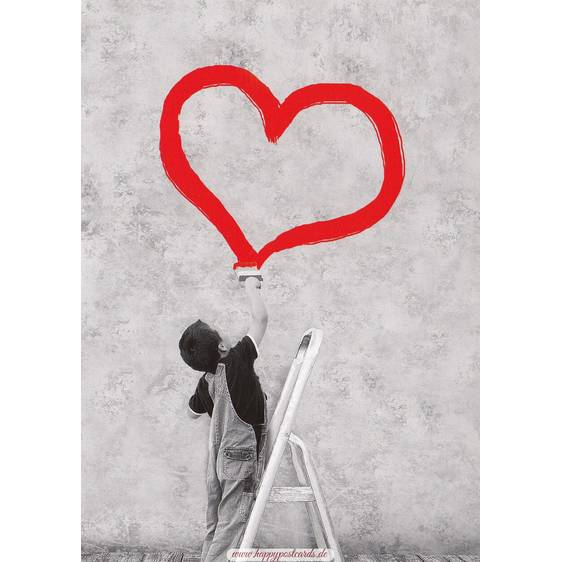 Boy draws red heart - Contrasts -  Postcard