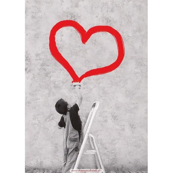 Junge malt rotes Herz - Kontraste - Postkarte