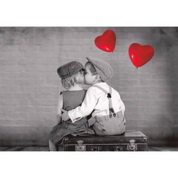 Küssende Kinder mit Herzluftballons - Kontraste - Postkarte