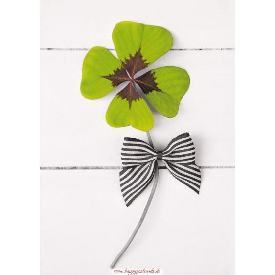 Kleeblatt mit Schleife - Kontraste - Postkarte