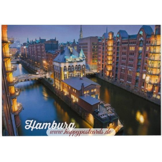 Hamburg - Illuminated Speicherstadt - Viewcard