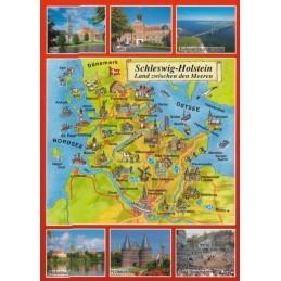Schleswig-Holstein - Map - Postcard