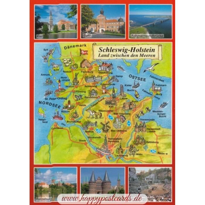Ansichtskarten Maps Landkarten Schleswig Holstein Map Postkarte Schoning Verlag