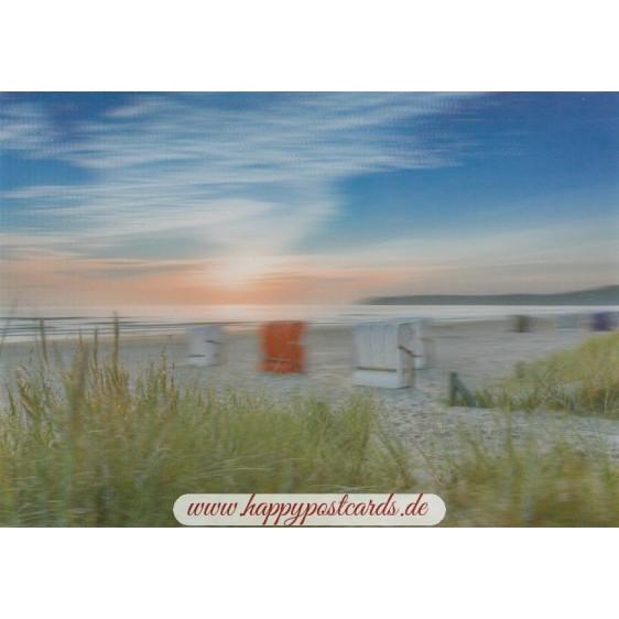 3D Beach chairs at sunrise  - 3D Postcard