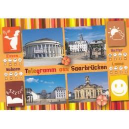 Telegramm aus Saarbrücken - Ansichtskarte