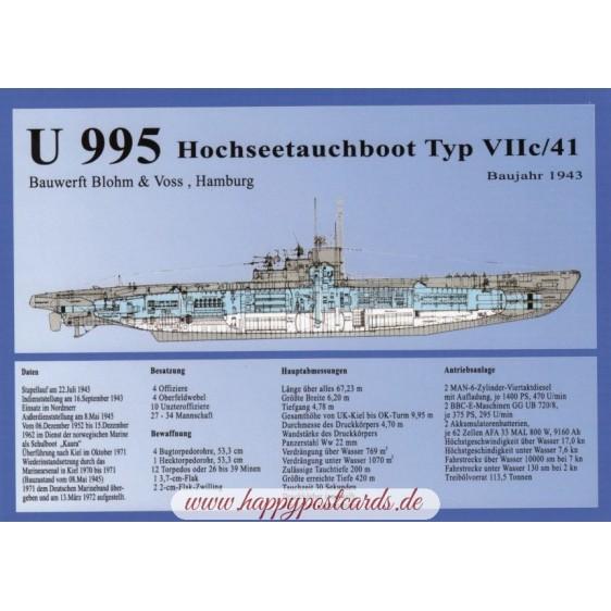 U 995 Hochseetauchboot - Ansichtskarte