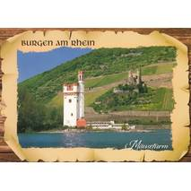 Mauseturm and Castle Ehrenfels - Viewcard