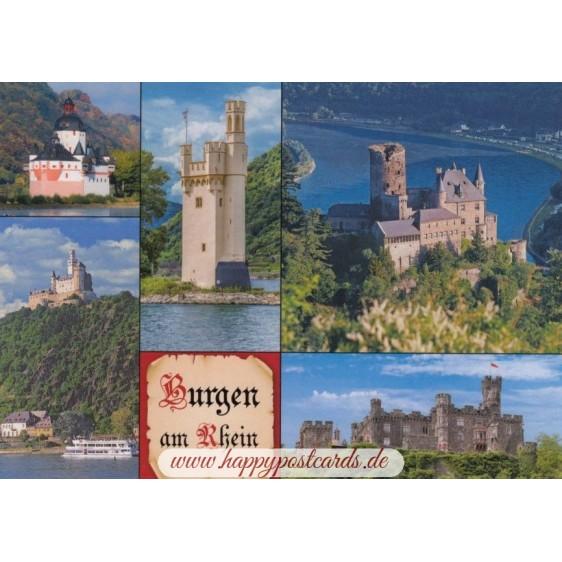 Burgen am Rhein - Ansichtskarte