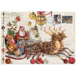 Weihnachtsmann auf dem Schlitten - Tausendschön - Weihnachtskarte
