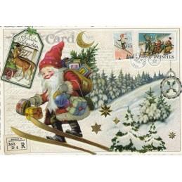 Weihnachtsmann beim Skifahren - Tausendschön - Weihnachtskarte