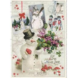 Ein gutes Neues Jahr - Schneemänner - Tausendschön - Weihnachtskarte