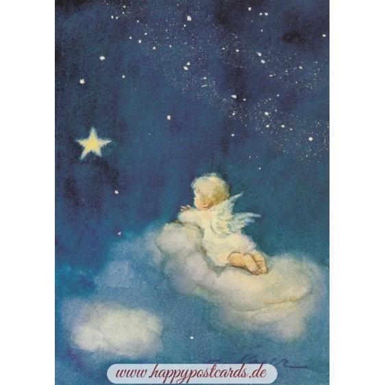 Angel on a cloud - Postcard
