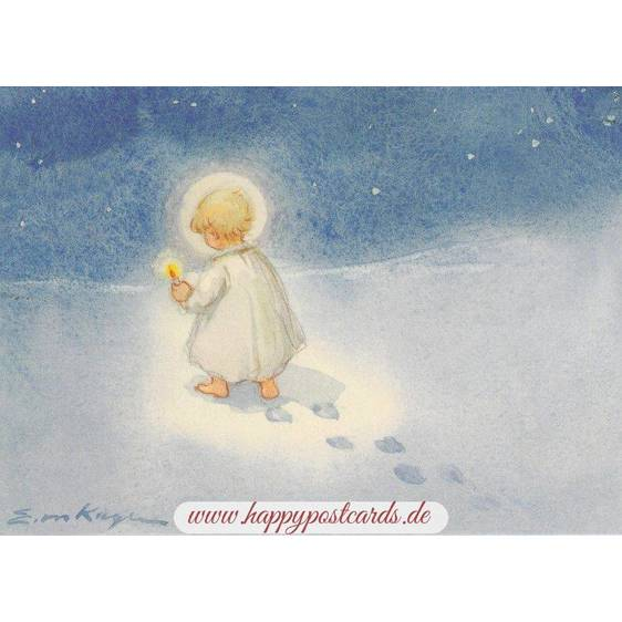Angel with a candle - Postcard