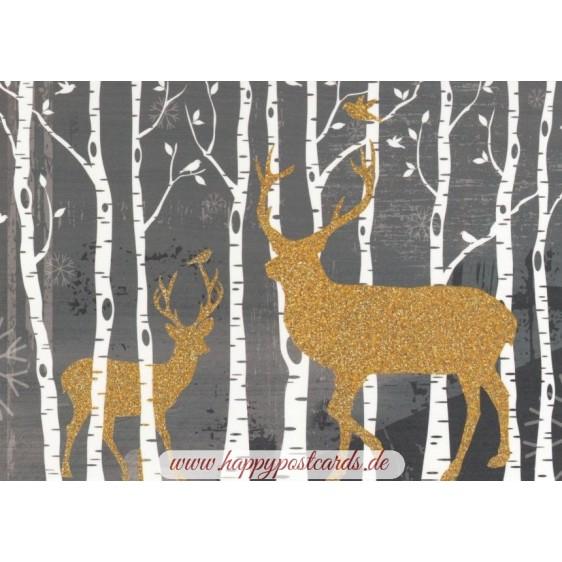 Deers in the Wood - Postcard