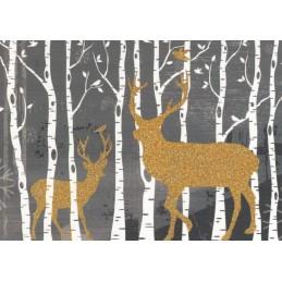 Hirsche im Wald - Weihnachtskarte