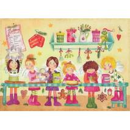 Engel in der Weihnachtsbäckerei - Weihnachtskarte