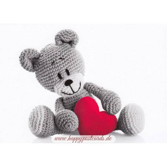 Teddy with Heart - Postcard