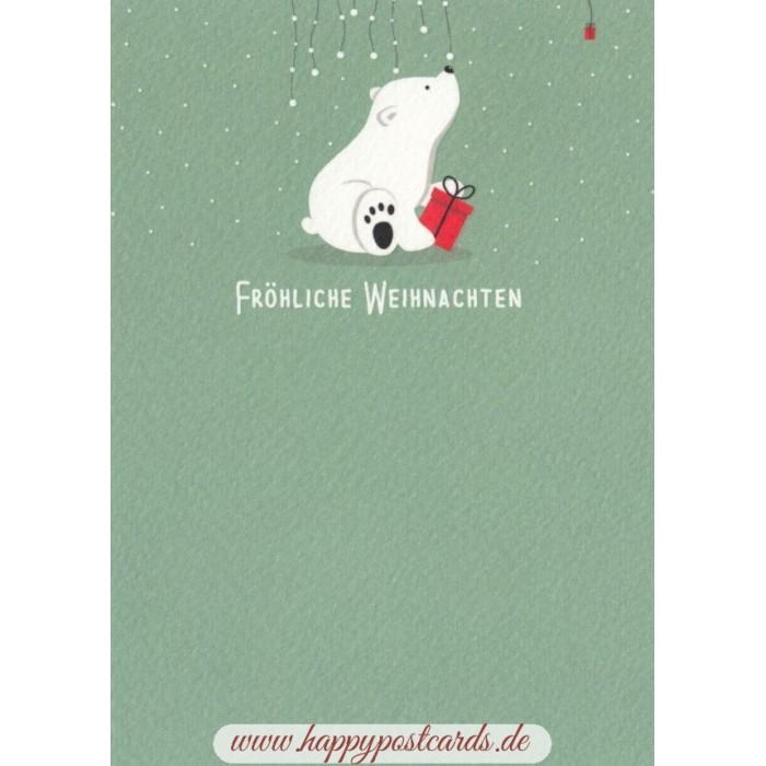 Christmas Postcards.Frohliche Weihnachten Polarbear Christmas Postcard