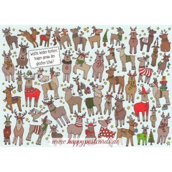 Welche beiden Rentiere tragen genau den gleichen Schal? - Christmas Postcard