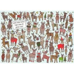 Welche beiden Rentiere tragen genau den gleichen Schal? - Weihnachtskarte