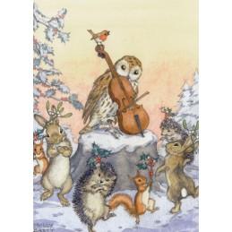 Tiere tanzen Weihnachtsreigen - Weihnachtskarte