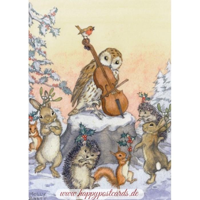 Weihnachtskarten Tiere.Tiere Tanzen Weihnachtsreigen Weihnachtskarte