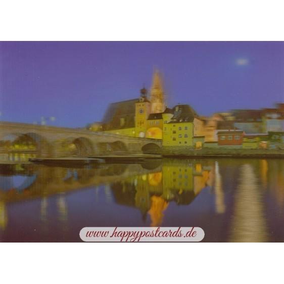3D Regensburg - Abenddämmerung - 3D Postkarte