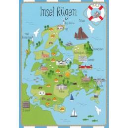 Island Rügen - Map - Postcard