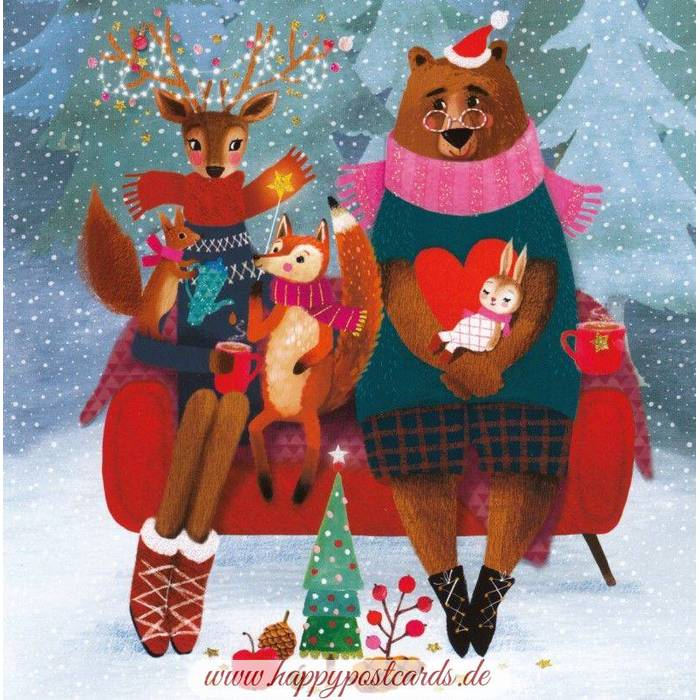 Christmas Animals , Mila Marquis Postcard