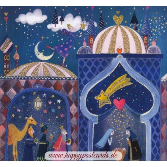 Krippe und heilige 3 Könige - Mila Marquis Postkarte