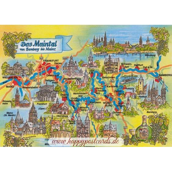 Mainvalley - Map - Postcard